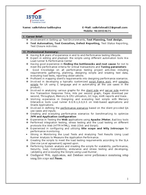 Performance Resume by Performance Testing Resume Docshare Tips