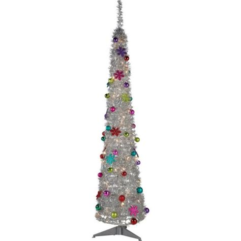 silver tinsel pop up christmas tree 6ft no lights