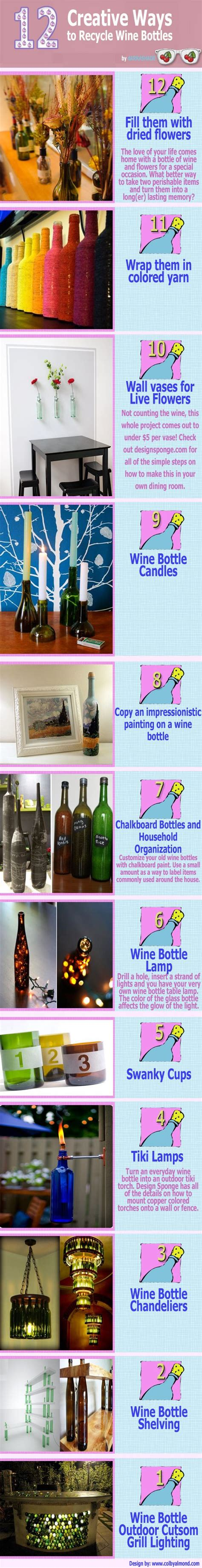 12 ways to recycle wine bottles infographic recycled wine bottles empty wine bottles and