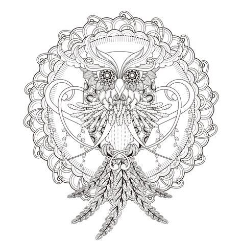 mandala owl kchung mandalas coloring pages adults justcolor