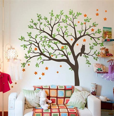 large owl hoot star tree kids nursery decor wall decals wall art baby idecoroom
