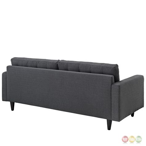 contemporary tufted sofa empress contemporary button tufted upholstered sofa gray