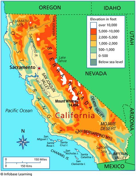 elevation map california california map elevation