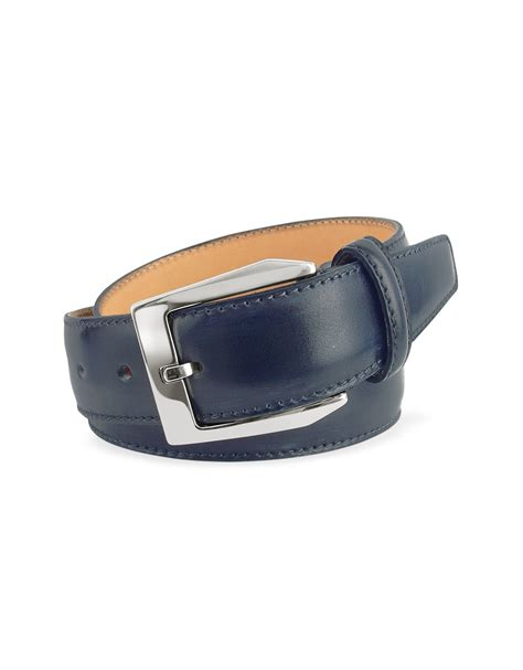 pakerson s blue painted italian leather belt in