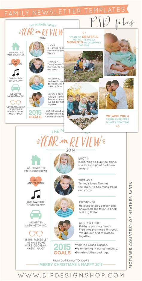 family year in review card template free photoshop year in review newsletters