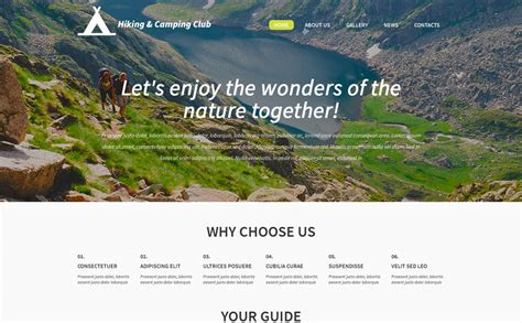 new themes in hike hiking and cing club wordpress theme