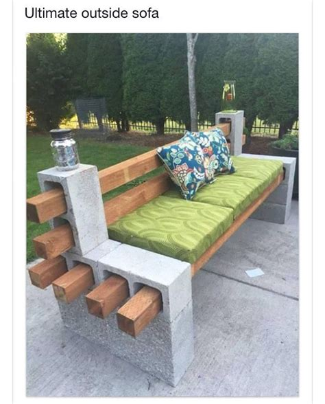 cheap concrete benches bench made from cement blocks and wood boards crafts