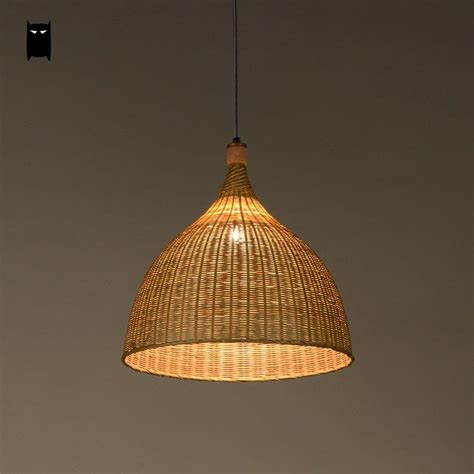 Handmade Pendant Lights - handmade bamboo rattan basket shade pendant light