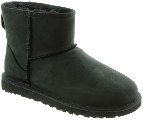ugg classic mini leather boots in black in black