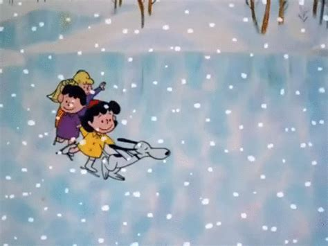 charlie brown christmas gifs skating brown gif by peanuts find on giphy