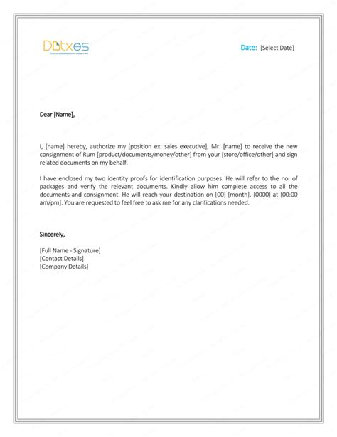 authorization letter format for up 6 free printable authorization letter formats and sles