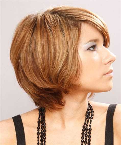 copper and brown sort hair styles short straight casual hairstyle with side swept bangs