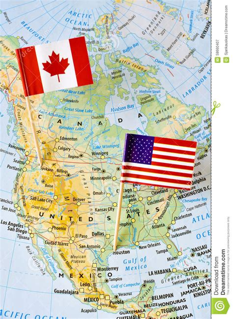 united states of america and canada map canada and usa flag pin on map stock image image of grid