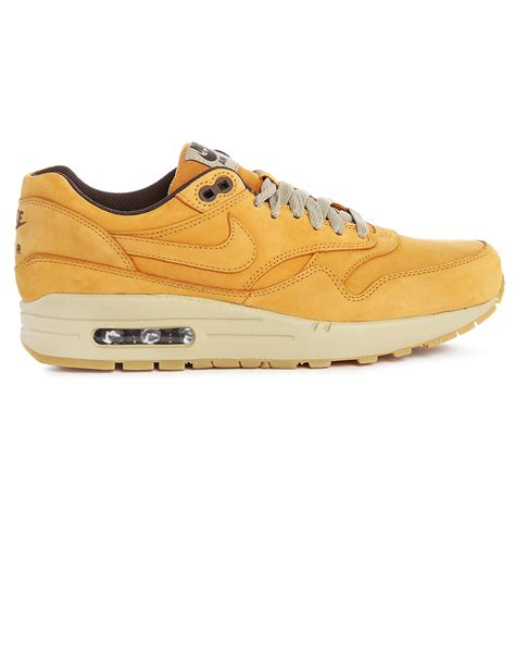 Nike Air Max 1 Wheat 2 0 nike air max 1 wheat nubuck sneakers in yellow for lyst