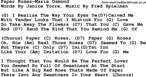 song roses are country paper roses osmond lyrics and chords