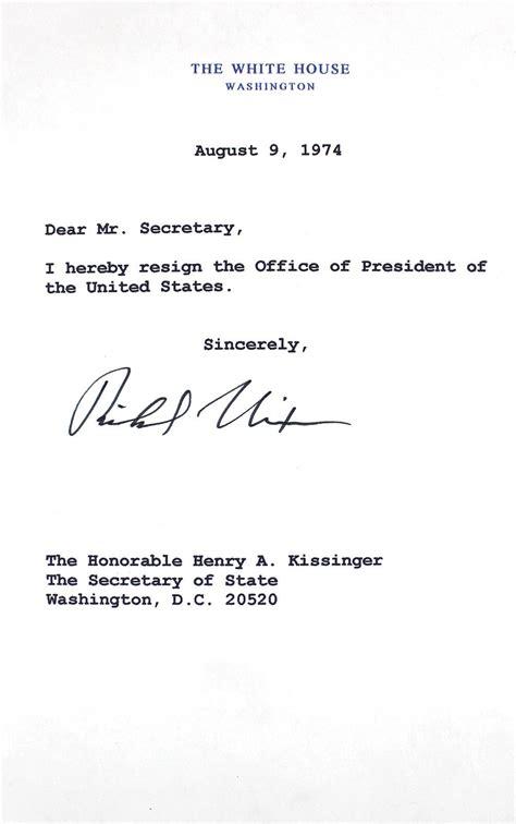 Mock Resignation Letter lot detail richard nixon signed mock presidential resignation letter to henry kissinger jsa
