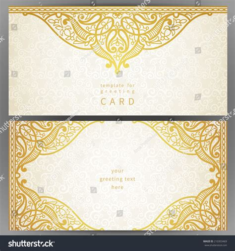 ornate card templates vintage ornate cards in style golden eastern