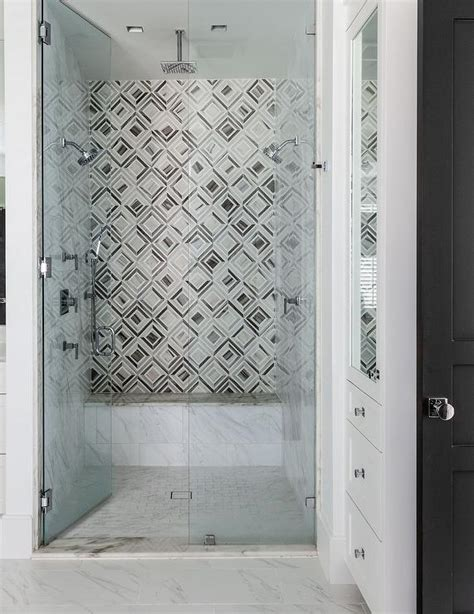 Jeff Lewis Bathroom Design by Geometric Shower Tiles Contemporary Bathroom