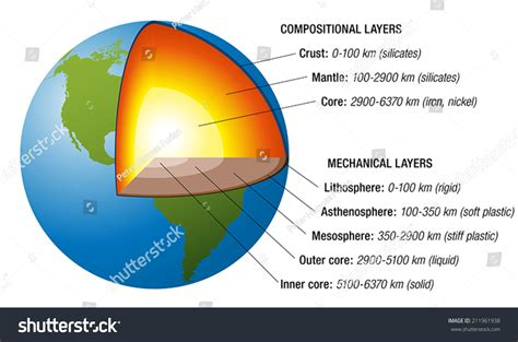 cross section of earth structure earth cross section accurate layers stock vector