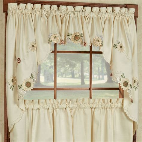 light cream curtains sunflower embroidered tier window treatment