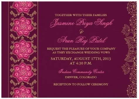 Indian Reception Card Templates wedding invitation wording etiquette indian wedding