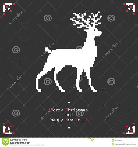 pixel deer stock vector illustration  buck card graphic
