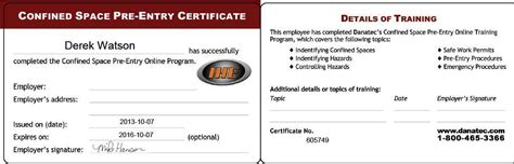 confined space card template safety tickets