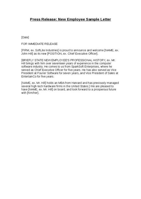 Release Letter Format From Company press release new employee sle letter hashdoc