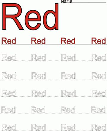 printable red word color coloring worksheet coloring