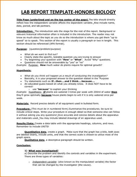 Biology Lab Report Template Writing A College Biology Lab Report