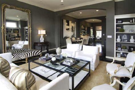charcoal gray walls living room zebra bench transitional living room