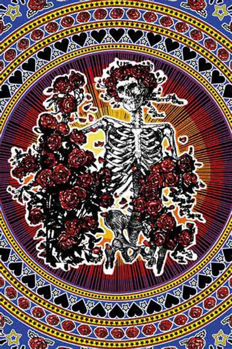 grateful dead skull  roses tapestry bertha tapestry
