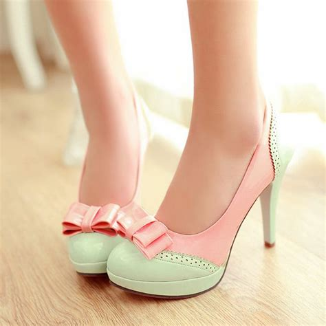 pink and green pastel pumps shoes and