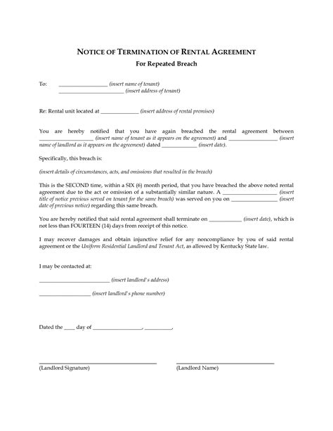 Lease Agreement Breach Of Contract Letter 12 Best Images Of Breach Of Lease Agreement Letter Free Printable Rental Agreement Landlord