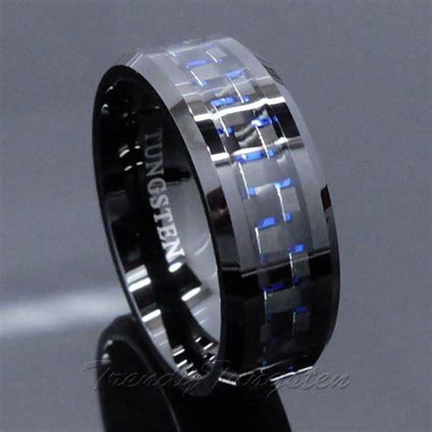 mens tungsten ring  carbon fiber mm black  blue