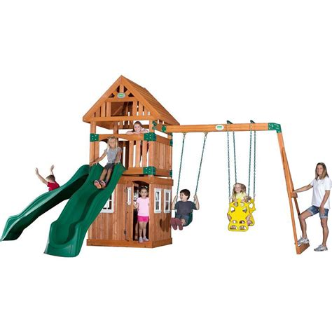 dayton swing set backyard discovery dayton all cedar playset 65014com the