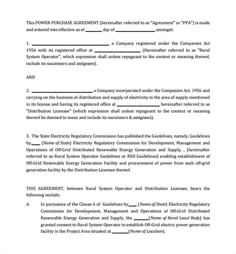 solar power purchase agreement template power purchase agreement 7 documents in pdf word