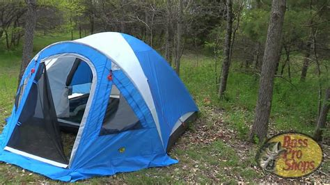 bass pro shops four person dome tent with screen porch youtube