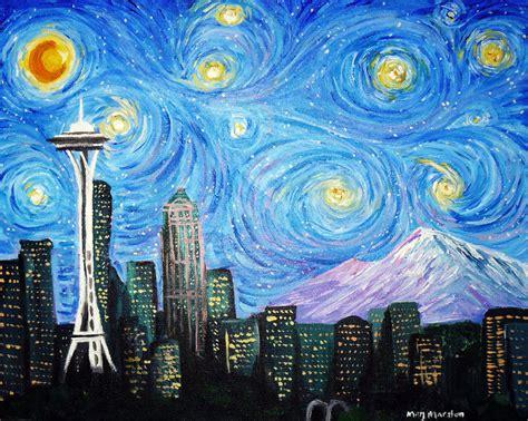 paint nite seattle a starry seattle by mkmars on deviantart