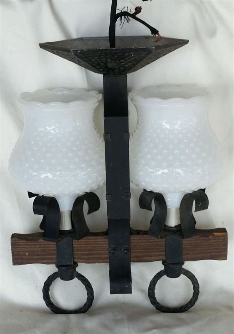 Hobnail Milk Glass Chandelier Atq Vtg Black Wrought Iron Metal Wood 2 Arm Chandelier Hobnail Milk Glass