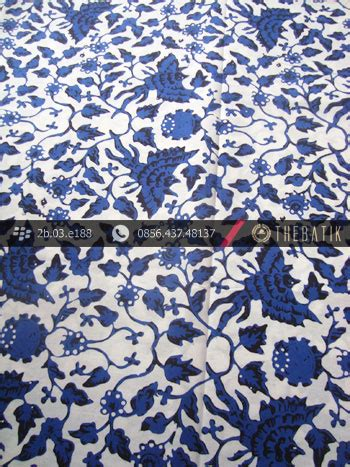 Kain Batik Cap Medan Biru jual kain batik cap yogyakarta motif burung biru latar