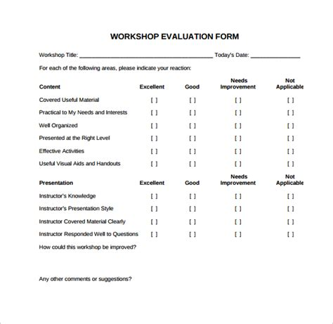 simple feedback form template 11 sle workshop evaluation forms sle templates