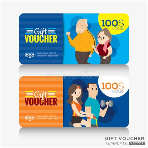 fitness gift card template fitness center coupon voucher or gift card design