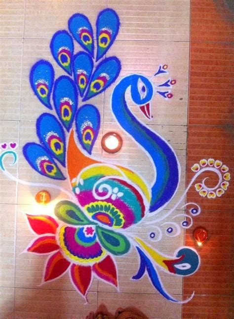 pattern art competition beautiful simple peacock rangoli designs images