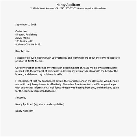 9 thanks letter after interview abstract sample