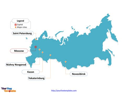 russia map showing cities free russia powerpoint map free powerpoint templates