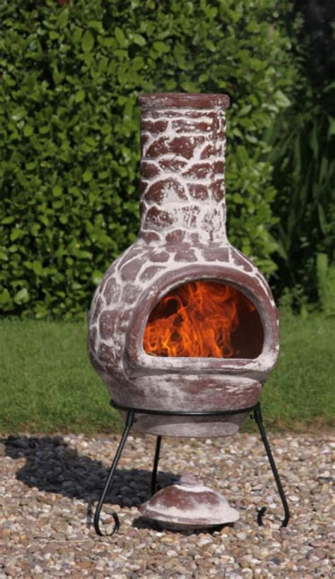chiminea clay outdoor fireplace mexican clay chimenea cantera chiminea patio heater