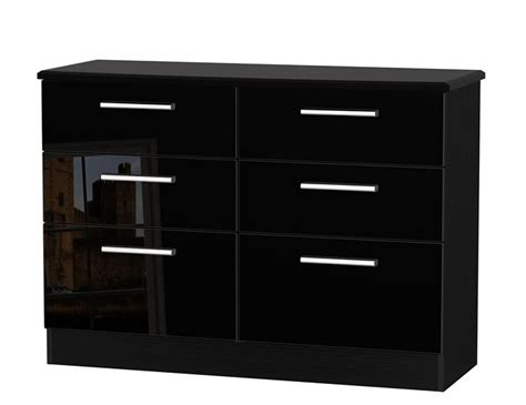 black high gloss 6 drawer wide chest