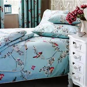 vintage shabby chic duck egg blue birds double duvet set