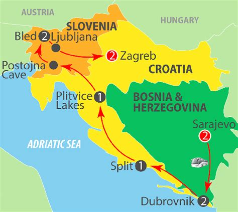 bosnia croatia slovenia  day night coach